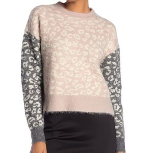 ALLSAINTS Leya Crew Neck Leopard Print Sweater